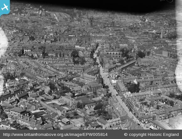Aerial view (1921) of neighbourhood in which Millington family lived at the time of their first court case (1883)